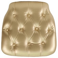 Hard Gold Tufted Vinyl Chiavari Chair Cushion
