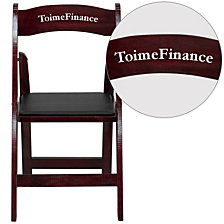 Personalized Hercules Series Mahogany Wood Folding Chair With Vinyl Padded Seat