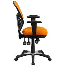 Mid-Back Orange Mesh Multifunction Executive Swivel Chair With Adjustable Arms