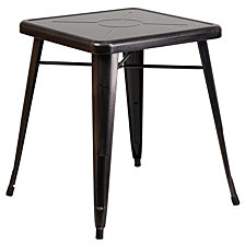 23.75'' Square Black-Antique Gold Metal Indoor-Outdoor Table