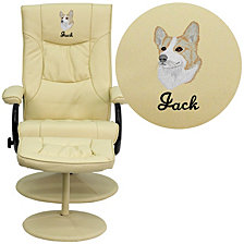 Embroidered Contemporary Cream Leather Recliner And Ottoman With Leather Wrapped Base