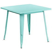 31.5'' Square Mint Green Metal Indoor-Outdoor Table