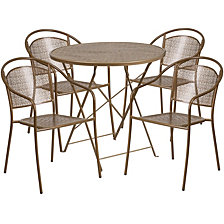 30'' Round Gold Indoor-Outdoor Steel Folding Patio Table Set With 4 Round Back Chairs