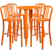 24'' Round Orange Metal Indoor-Outdoor Bar Table Set With 4 Vertical Slat Back Stools