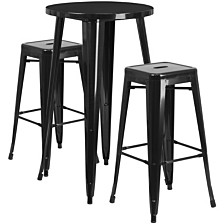 24'' Round Black Metal Indoor-Outdoor Bar Table Set With 2 Square Seat Backless Stools