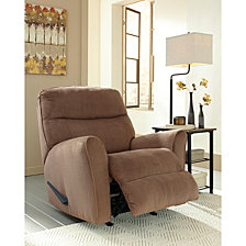 Signature Design By Ashley Cossette Rocker Recliner In Cocoa Fabric