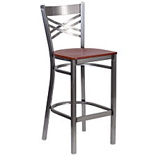 Hercules Series Clear Coated ''X''Restaurant Barstool