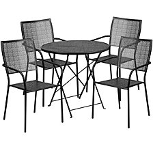 30'' Round Black Indoor-Outdoor Steel Folding Patio Table Set With 4 Square Back Chairs