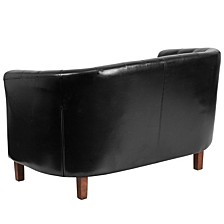 Hercules Colindale Series Black Leather Tufted Loveseat