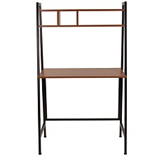 Wilmette Cherry Wood Grain Finish Computer Desk With Storage Shelf And Black Metal Frame