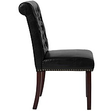 Hercules Series Black Leather Parsons Chair With Rolled Back, Accent Nail Trim And Walnut Finish