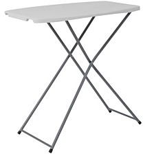 18.75''W X 29''L Height Adjustable Granite White Plastic Folding Table