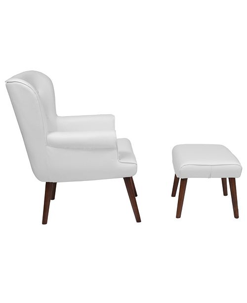 Pleasant Bayton Upholstered Wingback Chair With Ottoman In White Leather Dailytribune Chair Design For Home Dailytribuneorg