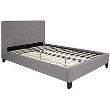 Chelsea Full Size Upholstered Platform Bed In Light Gray Fabric