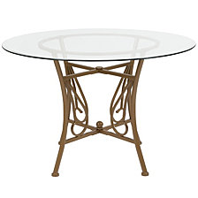 Princeton 45'' Round Glass Dining Table With Matte Gold Metal Frame