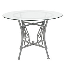 Princeton 42'' Round Glass Dining Table With Silver Metal Frame