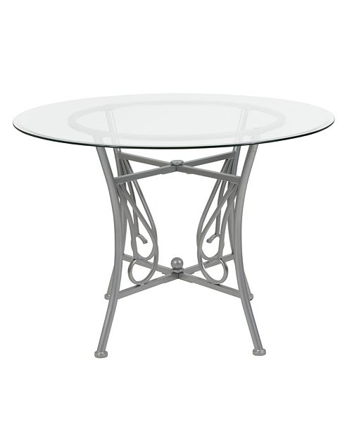Flash Furniture Princeton 42'' Round Glass Dining Table With Silver Metal Frame