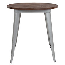 "26"" Round Silver Metal Indoor Table With Walnut Rustic Wood Top"