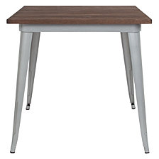 "31.5"" Square Silver Metal Indoor Table With Walnut Rustic Wood Top"
