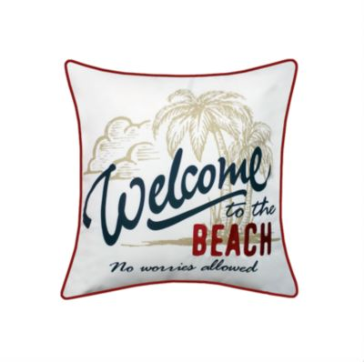 Beach Embroidered Printed Outdoor Pillow