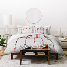 Deny Designs Iveta Abolina Coral Feathers Queen Duvet Set