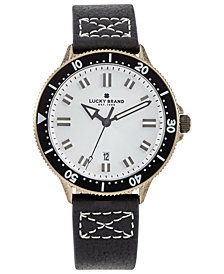 Lucky Brand Men's Dillon Black Leather Strap Watch 42mm