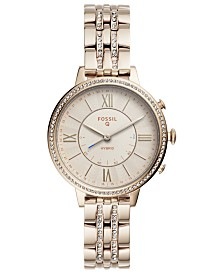 Fossil Q Women's Jacqueline Pastel Pink Stainless Steel Bracelet Hybrid Smart Watch 36mm