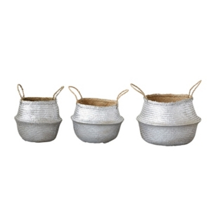 "Image of 15-3/4, 13-3/4""& 10"" Round Seagrass Collapsible Baskets, Silver, Set of 3"