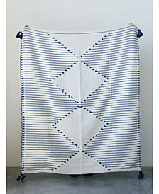 Cream Diamond Design Throw w/Blue Stripes and Tassels