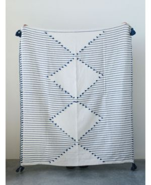 Image of Cream Diamond Design Throw w/Blue Stripes and Tassels