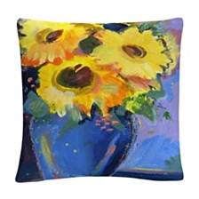 "Sunflowers II Floral Bold Still Life Painting 16x16"" Decorative Throw Pillow by Sheila Golden"
