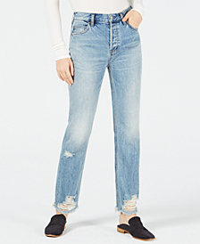 Free People Cotton Distressed Straight-Leg Jeans