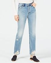 bf783efe2b0 Free People Cotton Distressed Straight-Leg Jeans