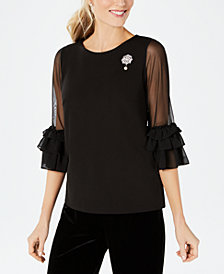 MSK Illusion-Sleeve Brooch Top