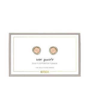 KITSCH Guiding Gems Earrings in Rose Quartz