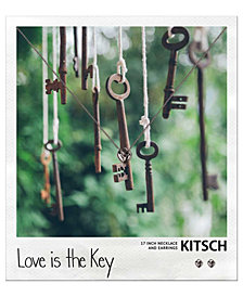 Kitsch Polaroid Heart Lock Necklace and Earring Set