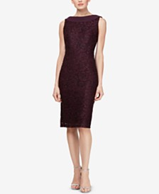 SL Fashions Cowl-Neck Allover-Glitter Shift Dress