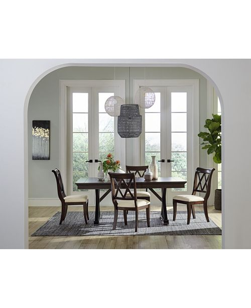 Baker Street Dining Furniture 5 Pc Set Trestle Table 4 Side Chairs