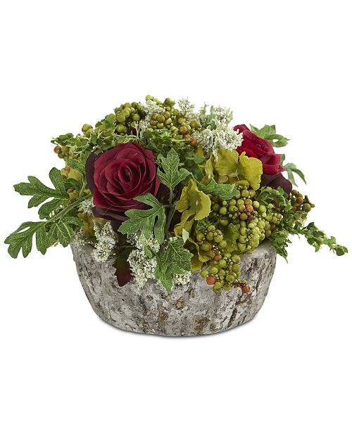 Nearly Natural Roses Bouquet Artificial Arrangement in Oak-Look Vase