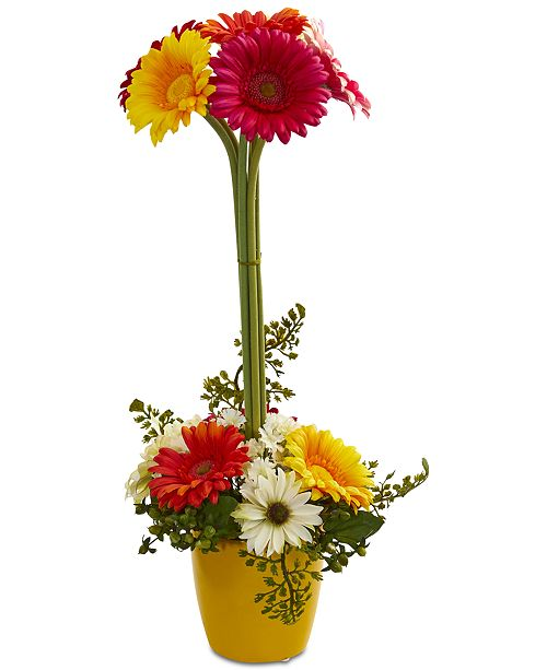 Nearly Natural Gerber Daisy Artificial Arrangement in Ceramic Vase