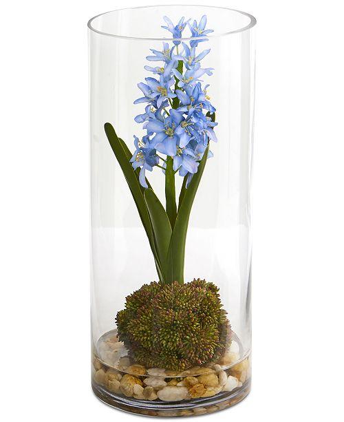 Nearly Natural Hyacinth & Sedum Artificial Arrangement in Cylinder Vase