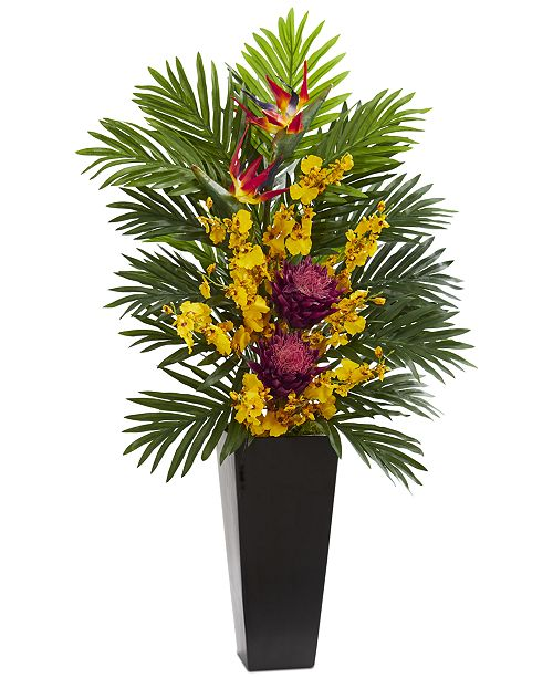 Nearly Natural Tropical Floral & Orchid Artificial Arrangement in Black Vase