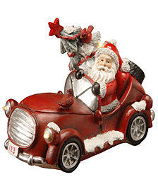"National Tree 7"" Polyresin Santa Car with Battery Operated LED Lights"