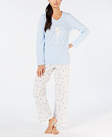 Charter Club Brushed Cotton Knit Pajama Set, Created for Macy's