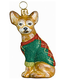 Joy To The World Chihuahua in Argyle sweater