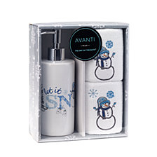 CLOSEOUT! Avanti Let It Snow 3-Pc. Lotion Pump and Fingertip Towel Box Set