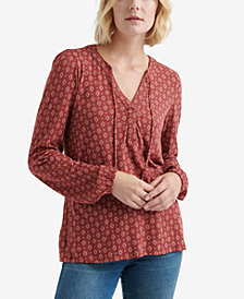Luck Brand Split-Neck Peasant Top