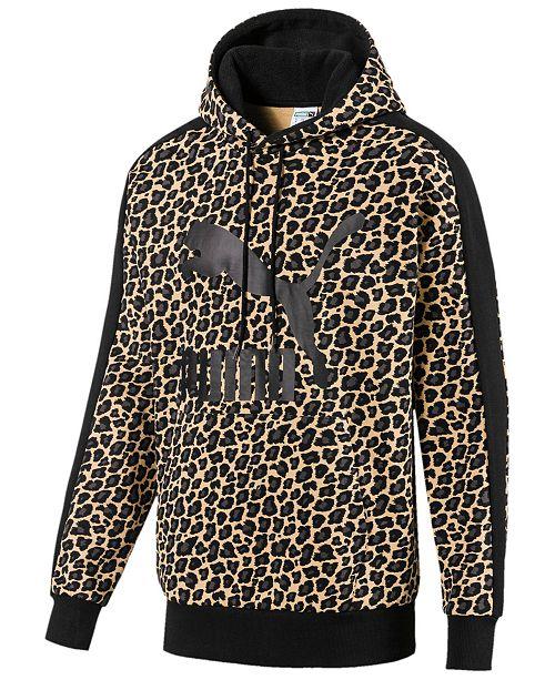 Puma Men's Cat-Print Logo Hoodie