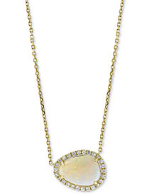 "EFFY® Opal (1-3/4 ct. t.w.) & Diamond (1/6 ct. t.w.) 18"" Pendant Necklace in 14k Gold"