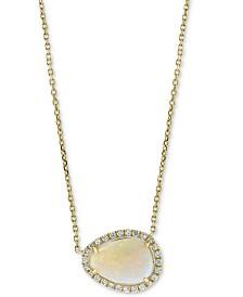 "EFFY® Opal (1-3/4 ct. t.w.) & Diamond (1/6 ct. t.w.) 18"" Pendant Necklace in 14k Gold"